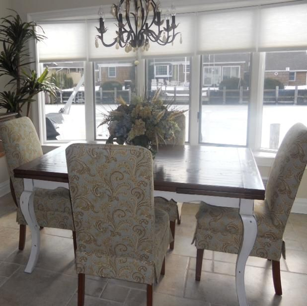 Simply stunning! #WHLiving loves these #upholstered #diningchairs #interiordesigner Susan Arlio has put together along with her client's beautifully finished wood #diningtable. The combination looks lovely together! #InteriorDesign #CustomFurniture #HomeFurnishings #Upholstered #CustomHome #HomeInspo  For more information visit www.WHLiving.com #Like & #share this post to spread #customfurniture ideas across the #GardenState!