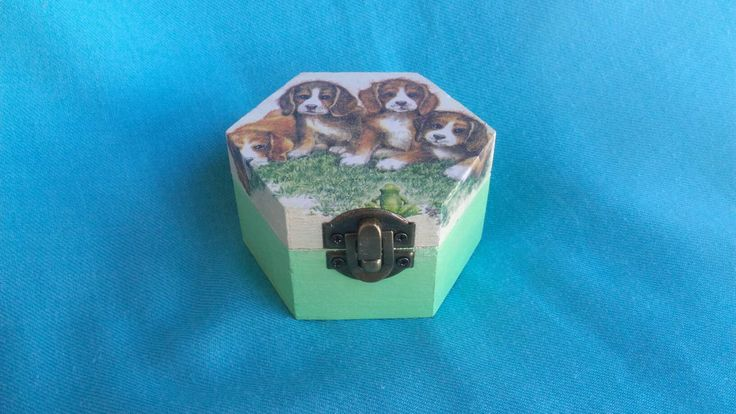 Wooden jewelry box, Elegant gift, tooth fairy box, shabby chic, kids gift, sweet pets, dogs and butterfly home decoration, art box, handmade by KristanArt on Etsy