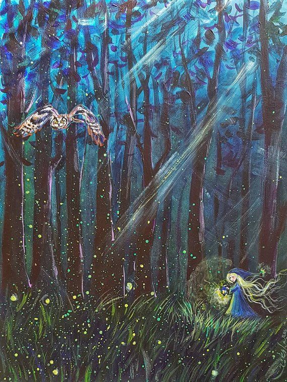 872a3a5ff In the Enchanted Forest original acrylic painting fairy tale nursery decor  owl elf fireflies gift fo