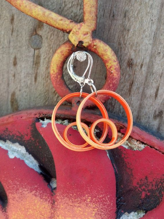 Paper Quilled Earrings Double Circle - Orange and Yellow - quilling paper jewelry, paper earrings, round earrings, eco friendly gift for her