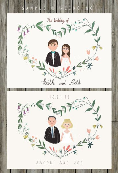 Printable Custom Portraits Wedding Invitation   by neikoart, $85.00