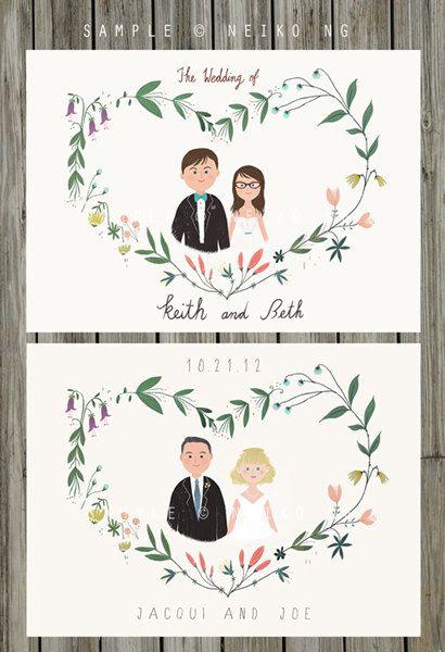 Printable Custom Portraits Wedding Invitation