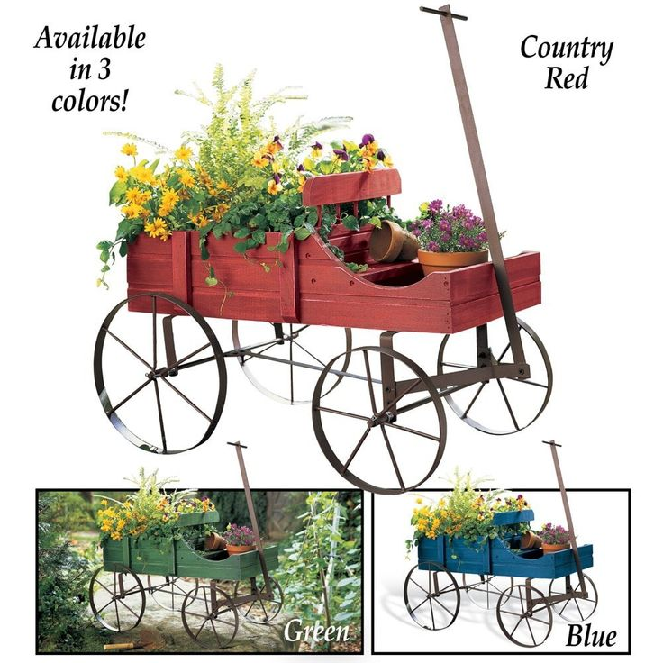 Amish Wagon Decorative Garden Planter KittyKatKoutique  Amish Wagon Decorative Garden Planter  How cute is this Amish Wagon Decorative Garden Planter?! And available in 3 colors Country Red,Green and Blue!  http://kittykatkoutique.com/amish-wagon-decorative-garden-planter/