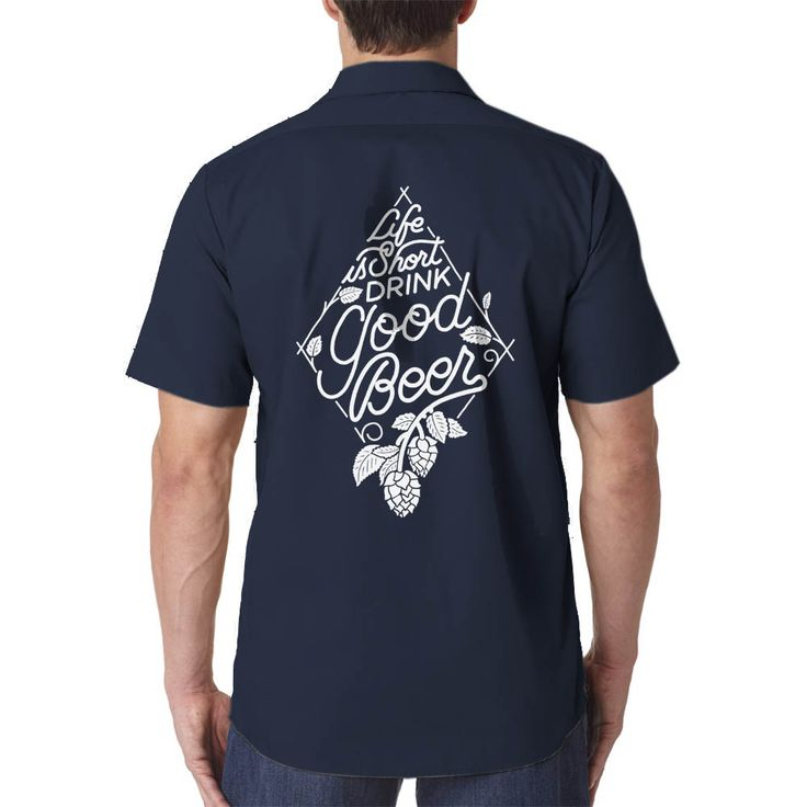 """""""Life is Short, Drink Good Beer"""" - typography with hop vines. This special design is from guest artist Joshua Minnich of Dayton, Ohio. Check out his work at www.joshuaminnichdesign.com. Printed in off-white discharge ink on a lightweight Dickies 535 short sleeve men's industrial work shirt  4.25 oz, 65% polyester/35% cotton permanent press poplin Lined two-piece collar with permanent stays and snap closure Mitered front pockets with pencil division on left pocket Fade r..."""