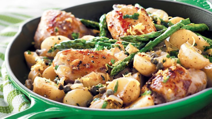 Lemon-Caper-Chicken,-Potato-&-Asparagus-Skillet