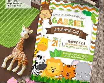 Invitaciones de la fiesta de cumpleaños de Safari por CutePartyDash