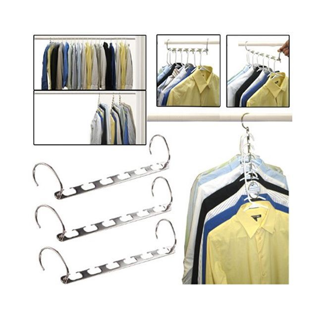 As Seen On TV Metal Space Saving Hangers 5-piece Set (Metal Space Saving Hangers - 5pc Set), Silver