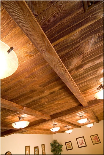 17 best images about wood beams on pinterest vaulted for Faux wood ceiling planks