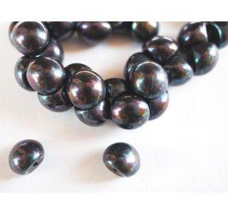 25pcs Czech Glass Mushroom Button Beads 9x8mm Jet Iris Luster