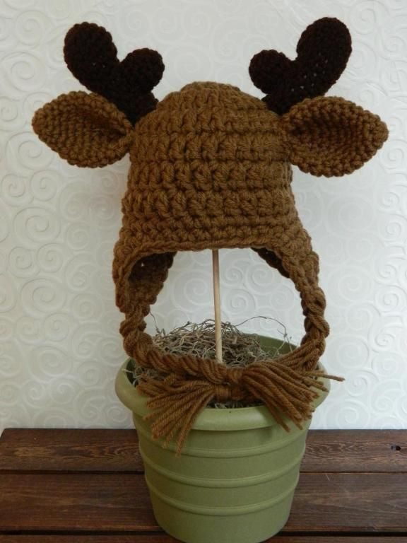 Crochet Pattern Moose Hat : Baby Moose Hat Accessories, Babies and Hats