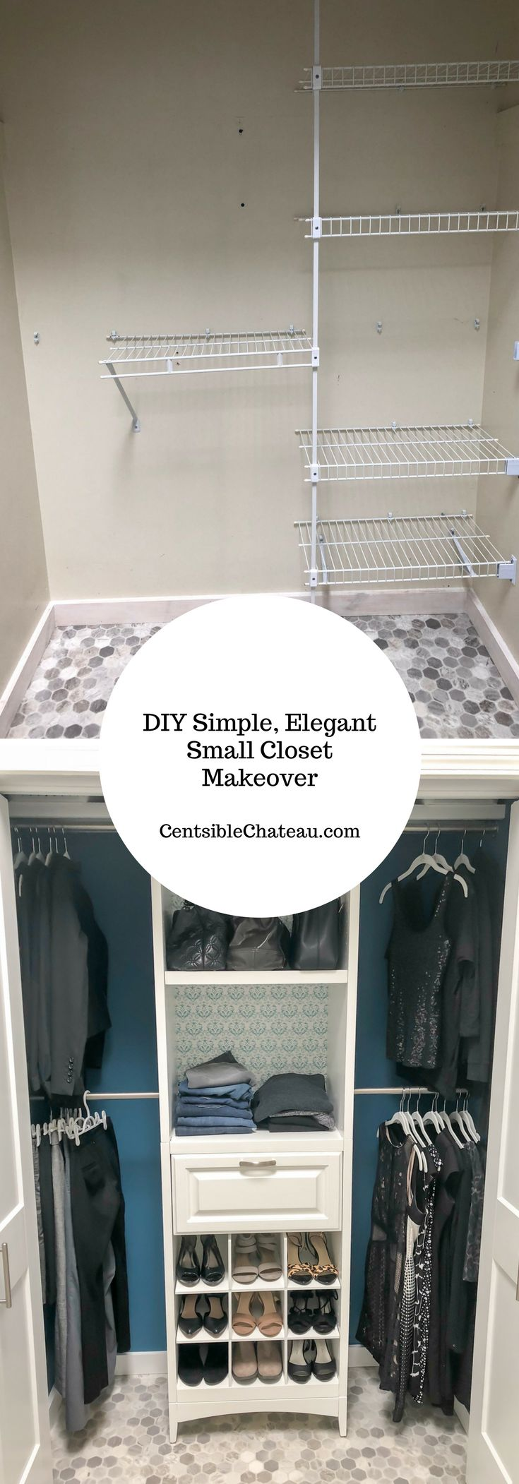 We transformed an ugly, useless closet into a dream closet with tons of organization. See how you can do it too! Click here to find out where to find the inexpensive closet organizer and supplies. #closet #closetorganizer #closetmakeover #organization