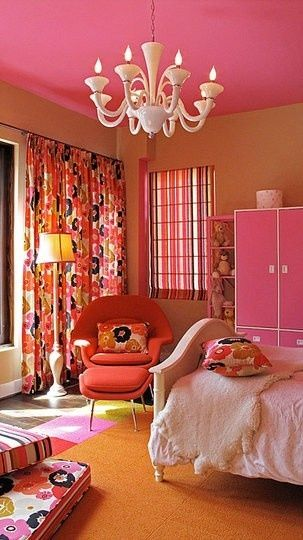 incredible hot pink orange bedroom | 192 best images about orange and pink rooms on Pinterest ...