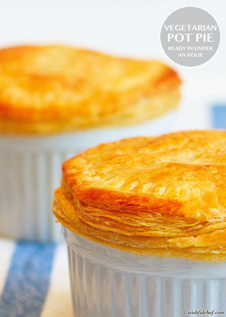 Vegetarian Pot Pie Recipe - Ready in Under an Hour // wishfulchef.com