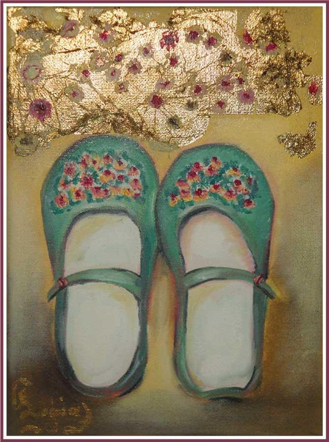 girl ballarina shoes, oil painting
