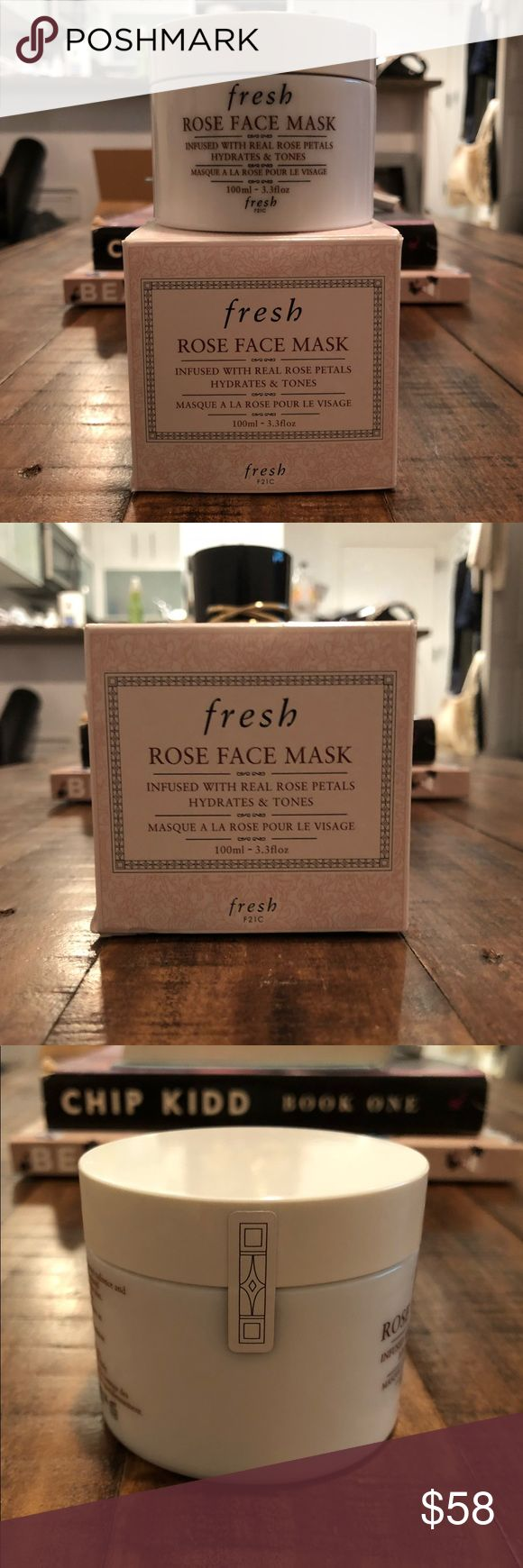NEW FRESH Rose Face Mask - Full Size & Sealed! NEW FRESH Rose Face Mask - Full Size & Sealed! Comes with 2 deluxe beauty samples!  A unique gel formula infused with real rose petals and pure rosewater that hydrates and tones the complexion.  Rose Face Mask hydrates and tones the complexion to restore radiance and suppleness to all skin types. The unique, cooling gel formula is infused with real rose petals that literally melt into the skin.  Purchase comes with deluxe beauty samples in…