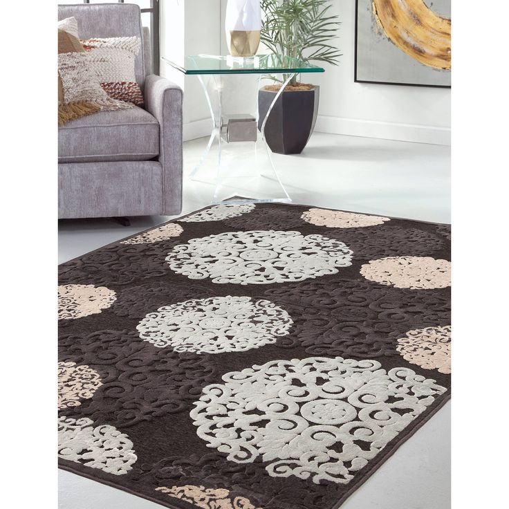 """Dacia Charcoal/Ivory/Lt. Blue Area Rug by Greyson Living (5'3"""" x 7'6""""), Grey, Size 5'3"""" x 7'6"""" (Chenille, Damask)"""