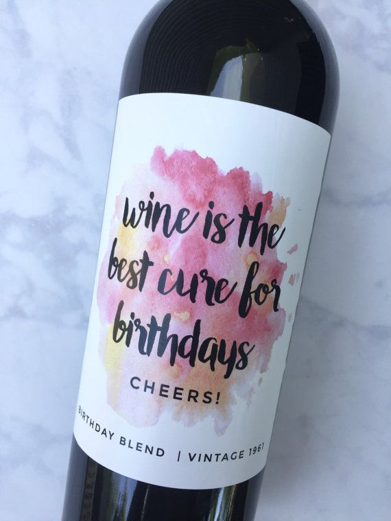 Birthday Gift Wine Labels Birthday Gift for Her by PaprikaPaperie