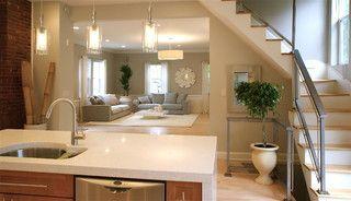 Light floor. Simple kitchen island