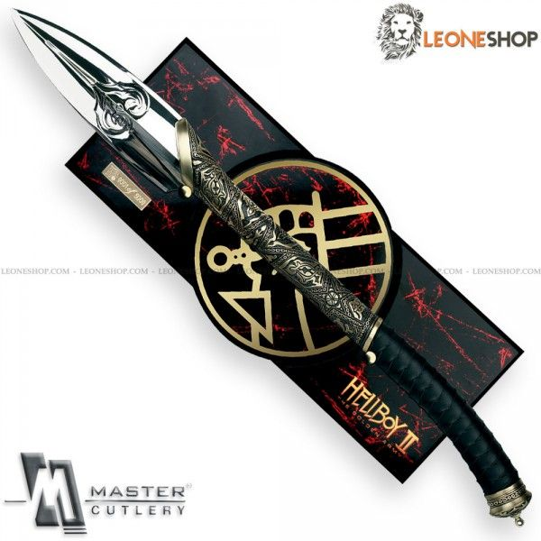 """HELLBOY 2 Prince Nuada Official Spear - Limited Edition MASTER Cutlery, articles for martial arts, combat and fighting, spear with blade of Stainless Steel of high quality with mirror polished finish (Not Sharpened) - Blade lenght 11"""" - Thickness 0.20"""" - Leather and Metal handle finely hand worked - Overall lenght 30.7"""" - Serial Number on the blade - Equipped with wall wood support - In the Gold Edition there is also the dagger of Prince Nuada."""