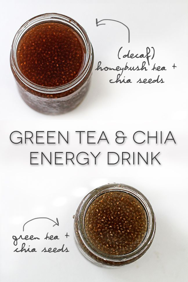 Green Tea and Chia Energy Drink - A natural energy drink combines chia seeds with green tea for a delicious energy-boost loaded with health benefits: Omega-3 Fatty Acids, Antioxidants & Minerals, Fiber & Protein plus it's also a Natural Energy Boost. Vegan and gluten free