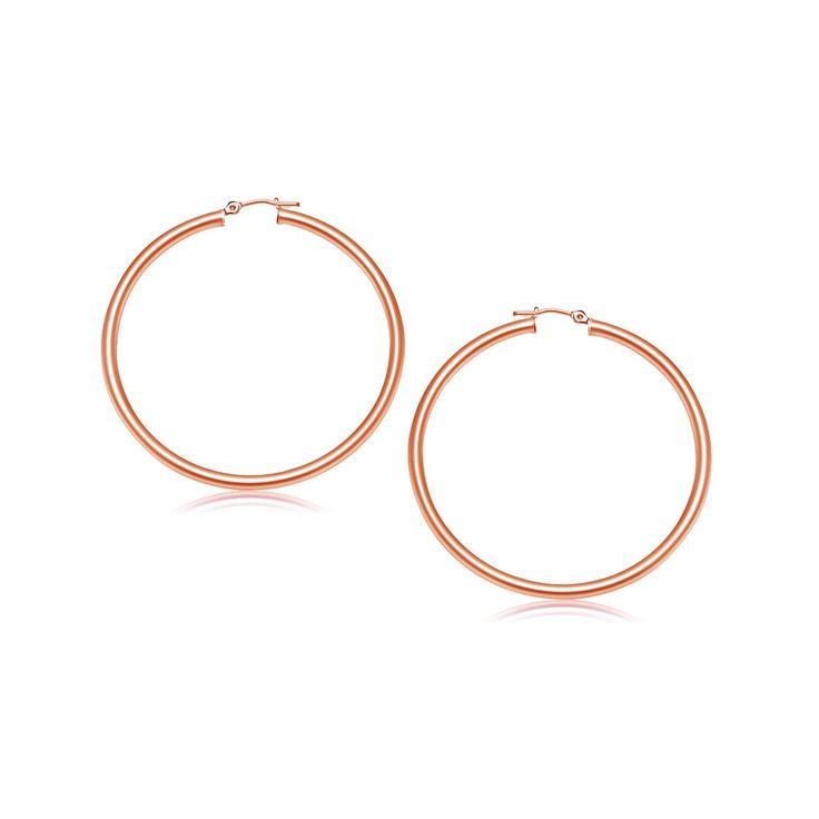 14K Rose Gold Polished Hoop Earrings (25 mm)
