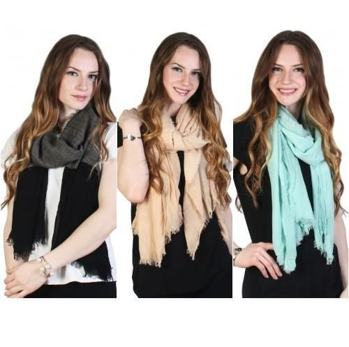 """Two Tone Lightweight Cashmere Feeling Scarf 40"""" X 76"""" Available in 3 Colors  NWT #NorthSouth #Scarf"""