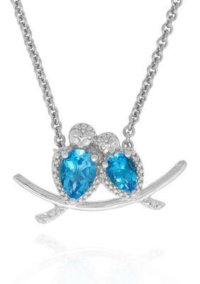 Belk  Co. Blue Blue Topaz Necklace in Sterling Silver