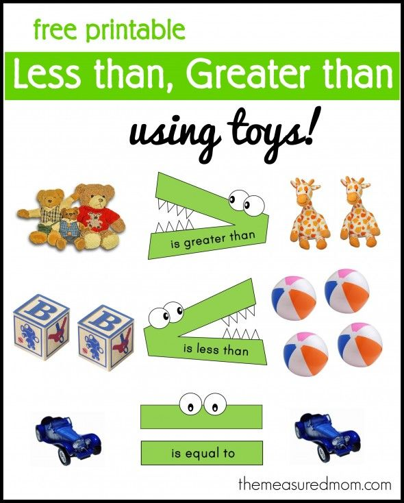 """""""Less than, greater than"""" math activity – using toys with free printable from The Measured Mom"""