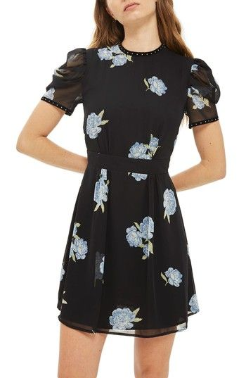 Free shipping and returns on Topshop Bloom Studded Puff Sleeve Skater Dress at Nordstrom.com. A sheer back panel and studded neckline and cuffs infuse this sweet skater dress with a rebellious punk attitude.