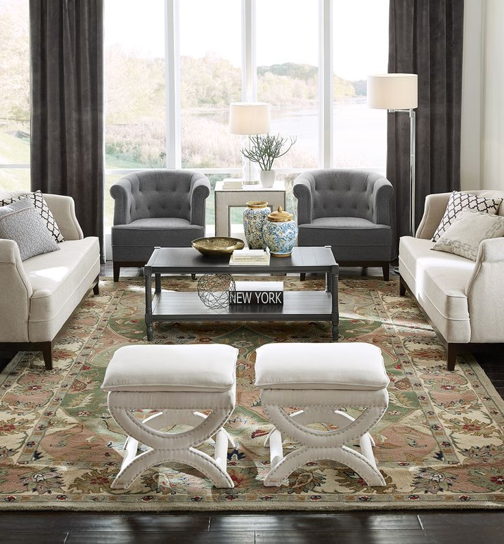 A sophisticated living room with space for