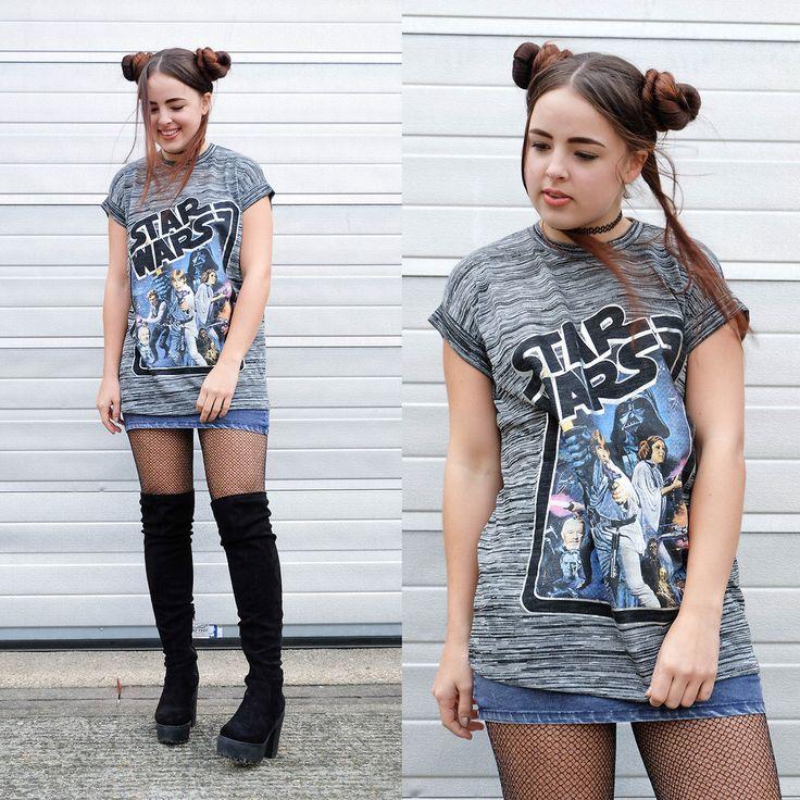 Conviértete en la Princesa Leia con este peinado y una camiseta de Star Wars. | 18 Looks de moda inspirados en Star Wars que todo fan amará