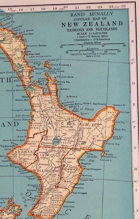1937 New Zealand Map Vintage Map Of New Zealand Historical Print