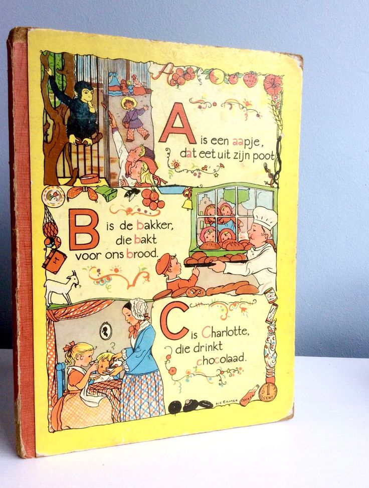 A is een aapje, a Dutch vintage alphabet book by Rie Cramer door lalinia op Etsy