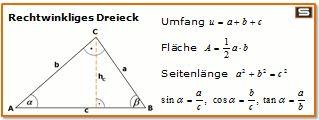 Rechtwinkliges Dreieck Formeln: Flaeche, Umfang