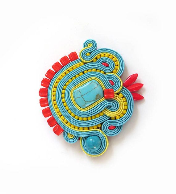Colorful Soutache brooch turquoise brooch  Embroidered brooch Gift for girlfriend red yellow pin