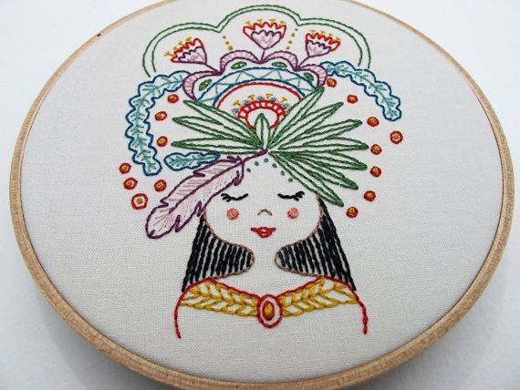 Flower Girl Embroidery - Iron-on Transfer