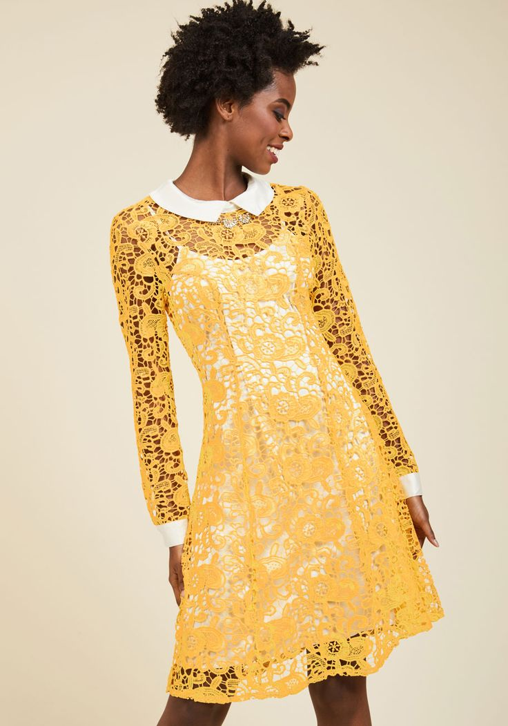 Collar ID Lace Dress in Yellow. If you identify with styles that merge sophistication and sass, this collared dress will call to you! #yellow #modcloth