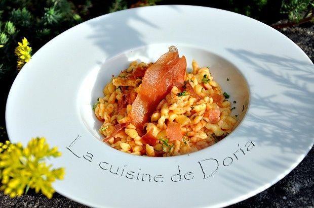 Spaetzle with tomato coulis with fresh garlic and Speck - Spaetzle au coulis de tomates à l'ail frais et Speck - La cuisine de Doria