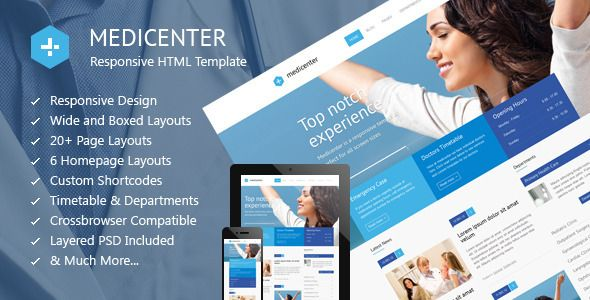MediCenter is a responsive HTML template suitable for medical and health related projects or businesses. The Template is maintained in a minimalist and modern style with strong color accents. The Template comes with wide and boxed layout – both fully responsive and optimized for all kind of devices. Tags: html template, beauty, clean, clinic, corporate, dentist, doctor, health, healthcare, hospital, medic, medical, medicine, responsive, schedule, timetable.
