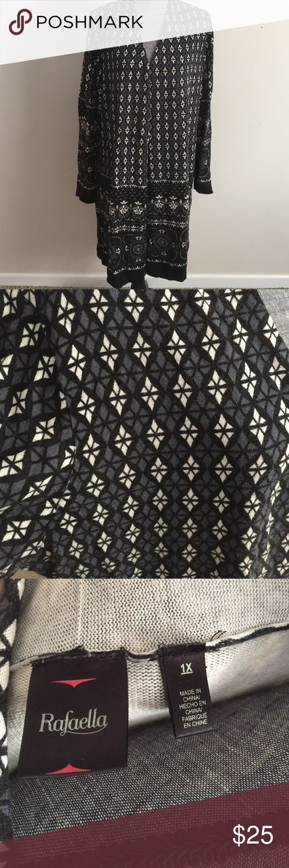 """Black and white cardigan Length 40"""" from shoulder to bottom hem.  Beautiful black and white patterned cardigan. There is some dye discoloration on the inside of the cardigan, and was purchased that way and is not seen, I just wanted to disclose. Rafaella Sweaters Cardigans"""