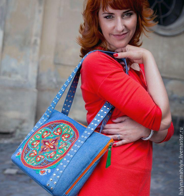 """Купить Джинсовая сумка """"Привет лето"""" - орнамент, джинсовый стиль, джинсовая сумка, женская сумка"""