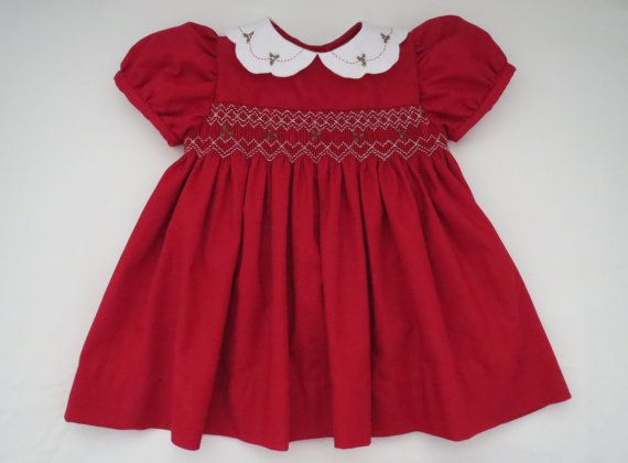 Adorable Red and White Christmas Dress for Baby Girl. Hand Smocked and Holly Embroidery. Short Sleeve.