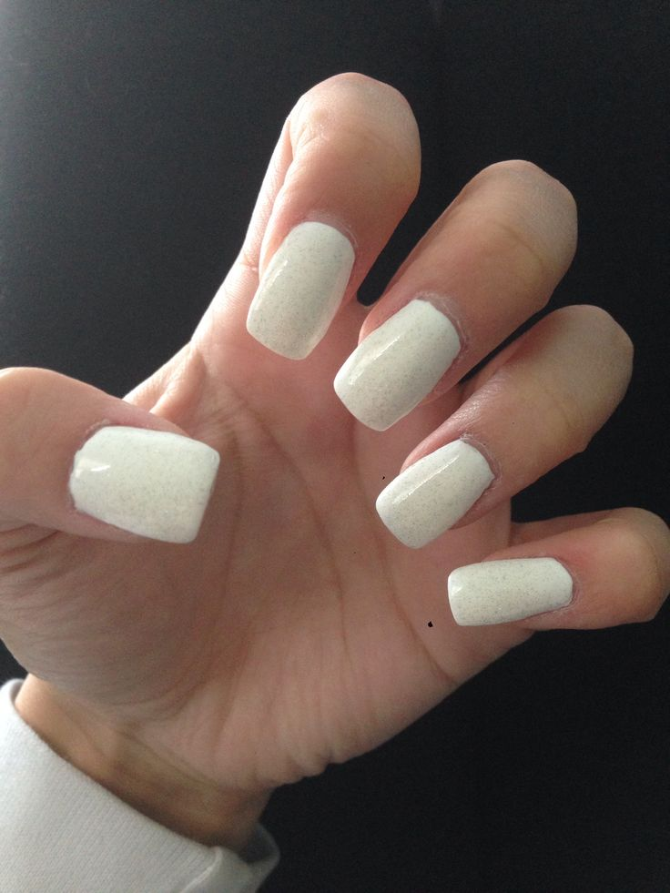 All white acrylic nail...