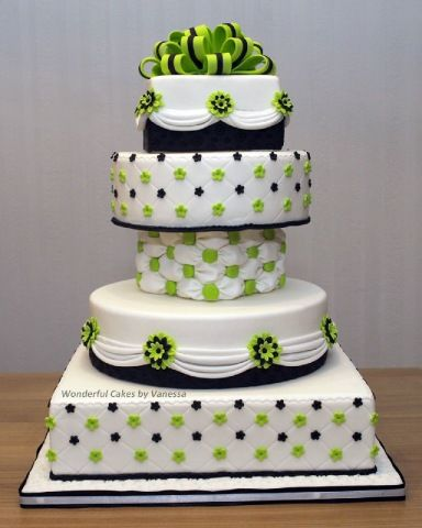 Green and black & white wedding cake. Its pretty but maybe with a purple for the color theme of my wedding....