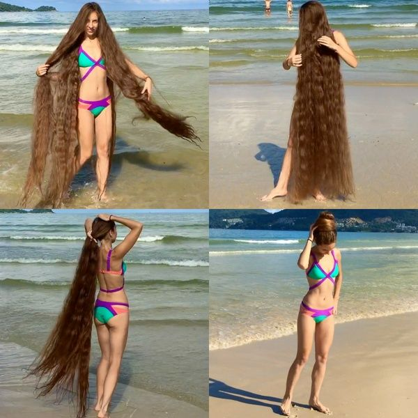 Video Bikini Rapunzel Thick Hair Styles Long Hair Styles Really Long Hair