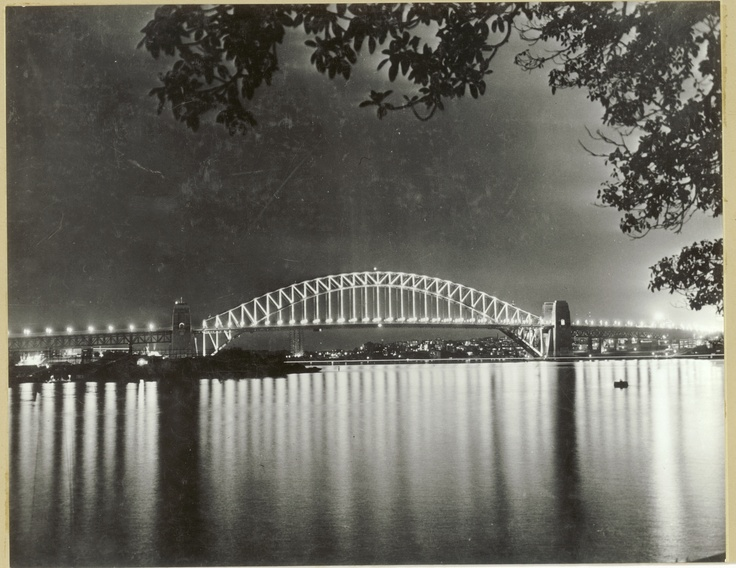 Sydney Harbour Bridge at night ~ 1962