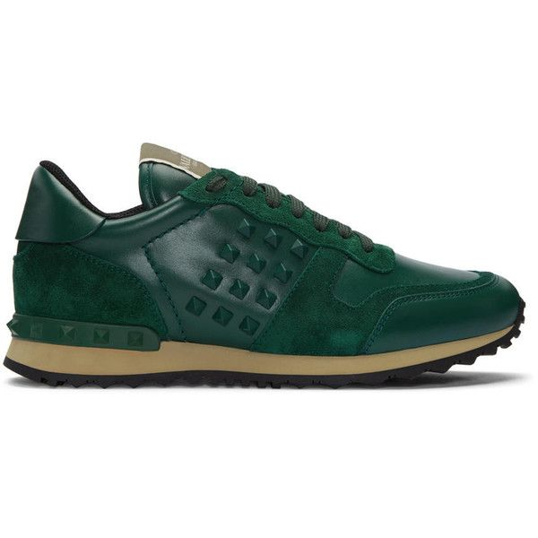 Valentino Green Rockrunner Sneakers (2.105 BRL) ❤ liked on Polyvore featuring men's fashion, men's shoes, men's sneakers, green, valentino mens shoes, valentino mens sneakers, mens green shoes and mens lace up shoes