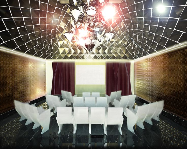 The most exclusive function room, La Cupola. Crowned by a spectacular dome, this multifunctional room features 23 luxury armchairs which may also be folded away into the floor, and a 100'' 3D LED screen. Why not use this room as an unforgettable private cinema.
