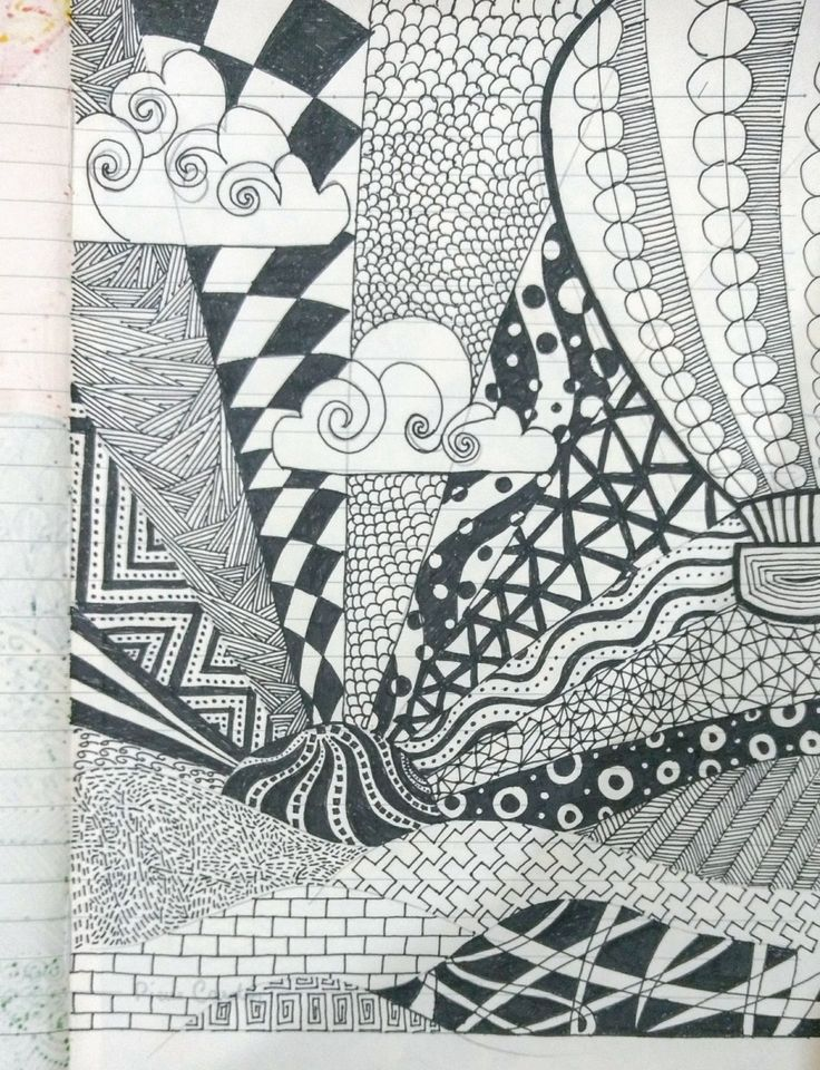 Doodling. black ink. Zentangle