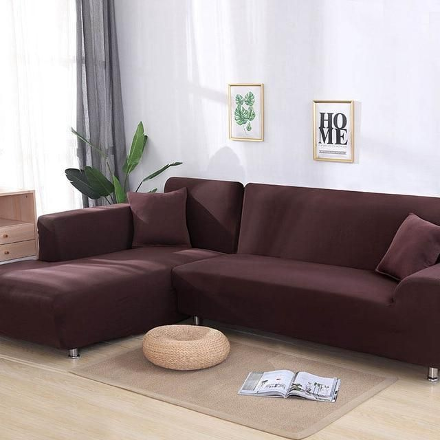 Elastic Sofa Cover Cotton It Needs Order 2 Pieces Covers For L Shape Corner Sectional Sofa Cover For Living Room Solid Color Sectional Sofa Slipcovers Corner Sofa Covers Corner Sectional Sofa